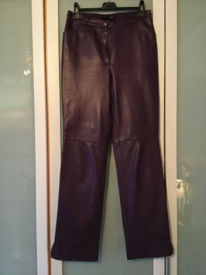 Escada Pantalone in pelle viola scuro