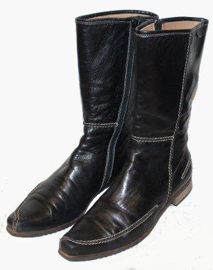 ESCADA flache STIEFELETTEN Stiefel schwarz Leder Gr. 39