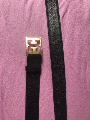 Escada Leather Belt black-gold-colored leather