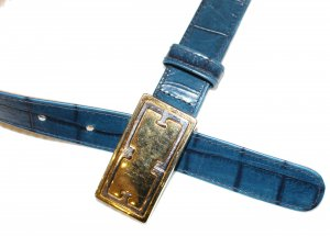 Escada Leather Belt dark blue leather
