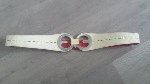 Escada Belt cream-raspberry-red leather