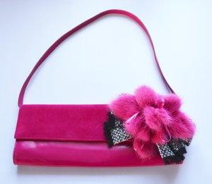 Escada HANDMADE Tasche Clutch gross Leder Nerz Blume Pink Fuchsia
