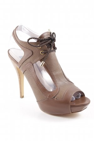 Escada High Heels ocker-beige Animalmuster Reptil-Optik