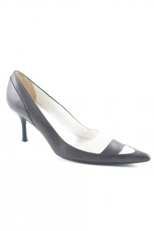 Escada High Heels weiß-dunkelblau Streifenmuster Business-Look