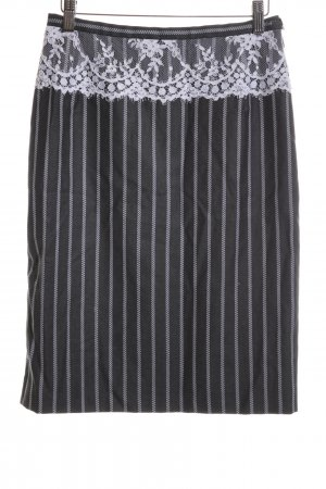 Escada High Waist Rock schwarz-weiß Streifenmuster Business-Look