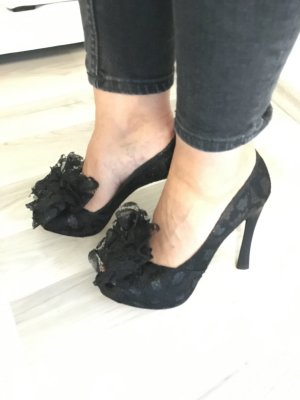 Escada Highheels Peeptoes schwarz 39 Pumps Spitze Boho Blog Blogger