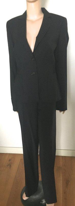 Escada Business Suit dark blue-natural white new wool