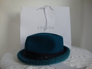 Escada Sport Woolen Hat dark blue-petrol mixture fibre