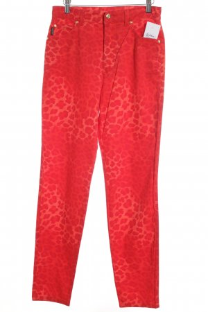 Escada Peg Top Trousers red-bright red leopard pattern street-fashion look