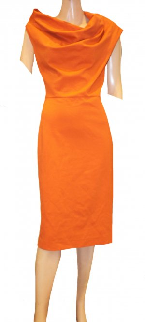 ESCADA Kleid orange Wasserfall Stretch Gr. 38/40