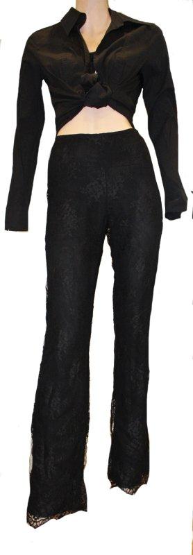 Escada Pantalon pattes d'éléphant noir soie
