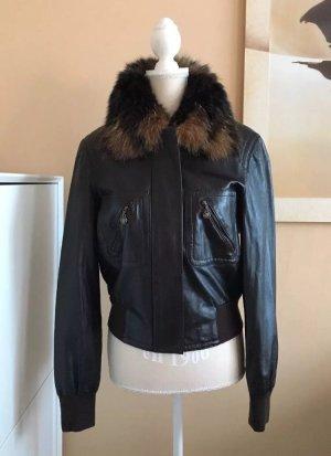 ESCADA Lammnappa Leder Jacke in Braun mit Echtpelz Kragen Gr.36-38 ein Blickfang