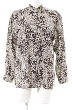 Escada Langarm-Bluse hellbeige-schwarzbraun florales Muster Casual-Look