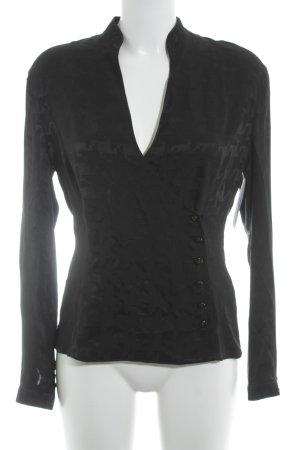 Escada Langarm-Bluse schwarz abstraktes Muster Elegant