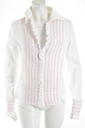 Escada Langarm-Bluse weiß-rosa Romantik-Look