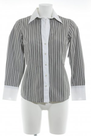 Escada Camisa de manga larga blanco-marrón claro estampado a rayas elegante
