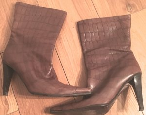 Escada Slip-on Booties dark brown leather