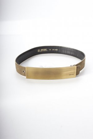 Escada Leather Belt khaki-gold-colored classic style