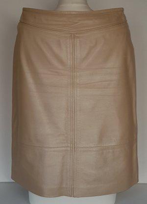 Escada Falda de cuero beige claro