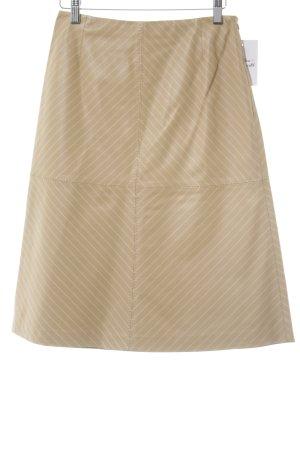 Escada Falda de cuero nude-blanco raya diplomática estilo «business»