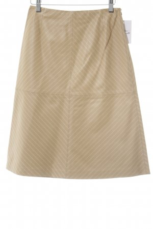 Escada Leather Skirt nude-white pinstripe business style