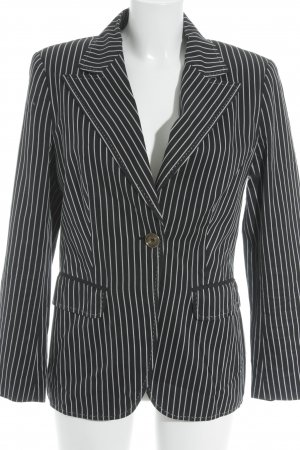 Escada Long-Blazer schwarz-hellgrau Streifenmuster Business-Look