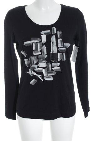 Escada Longsleeve schwarz-hellgrau Motivdruck Street-Fashion-Look
