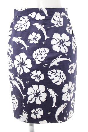 Escada Margaretha Ley Bleistiftrock weiß-dunkelblau florales Muster Casual-Look