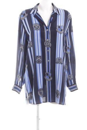 Escada Margaretha Ley Langarm-Bluse blau Allover-Druck Business-Look