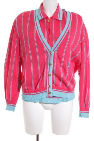 Escada Margaretha Ley Twin set in maglia rosa-turchese motivo a righe