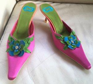 * ESCADA * NEU !  festliche PANTOLETTEN SANDALETTEN KITTEN HEEL Leder Seide Ziersteine Pink grün hellblau COCKTAIL ABENDSCHUH Gr 36