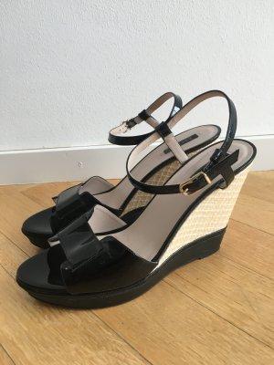 Escada Plateauzool sandalen zwart Leer