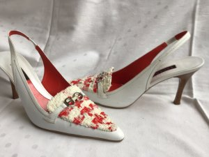 Escada Slingback pumps wit-rood