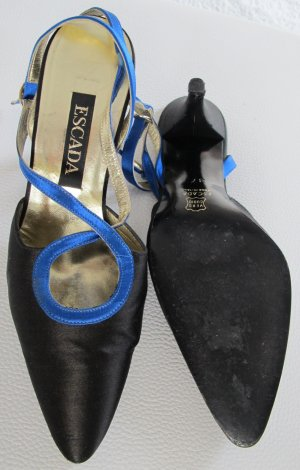 Escada Pumps in schwarz/blau Leder/Satin