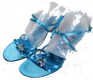 Escada Strapped High-Heeled Sandals turquoise silk