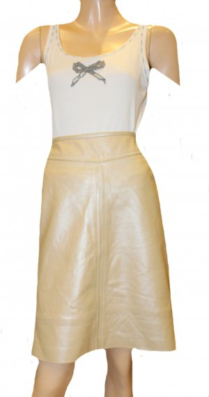 Escada Leather Skirt cream leather