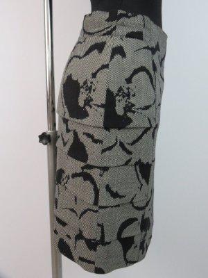 Escada Rock Stiftrock mit Stufen Gr.38/40 Schwarz-Weiß 100% Schurwolle