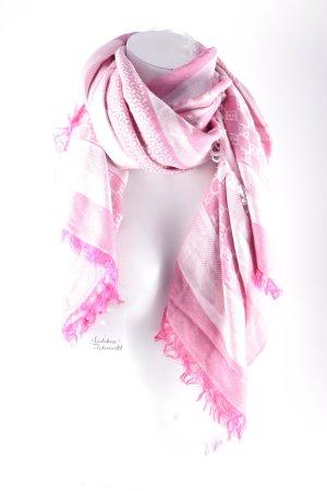 Escada Schal rosa-hellrosa Monogram-Muster klassischer Stil