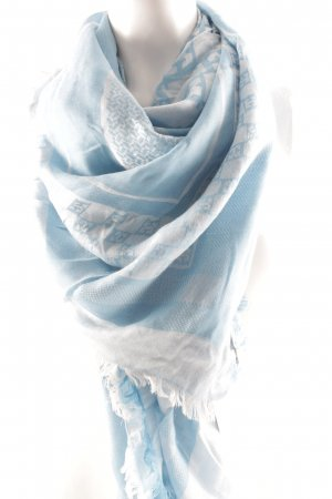 Escada Schoudersjaal babyblauw-azuur verfraaid patroon klassieke stijl