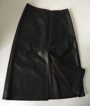 Escada Leather Skirt black-brick red leather