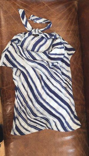 Escada Seiden-Shirt mit außergewöhnlichem Kragen,blau/weiß , Gr 42