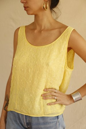 Escada Silk Top primrose-yellow silk