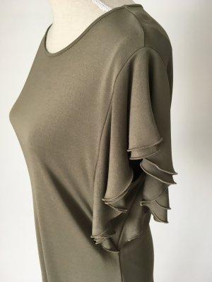 Escada Shirt Bluse Top 40  L Volants khaki grün