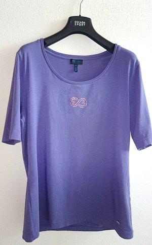 Escada Shirt in Graulila mit Logo aus Swarovski Elementen in Gr. 42