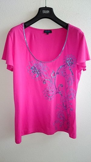 Escada Shirt in pink mit blauer Applikation in Gr. 40