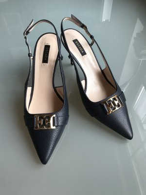 Escada Slingback Pumps dark blue-gold-colored leather