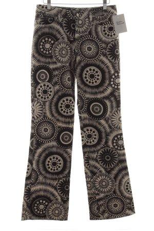 Escada Sport Boot Cut Jeans graubraun-weiß florales Muster Casual-Look
