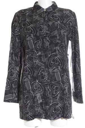 Escada Sport Langarmhemd schwarz-weiß abstraktes Muster Business-Look