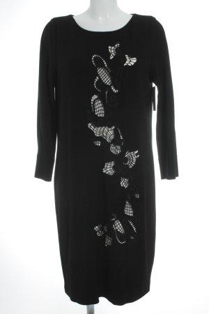 Escada Sport Langarmkleid schwarz-weiß abstraktes Muster