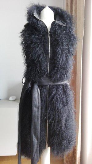 Escada Sport Chaleco de piel negro Cuero